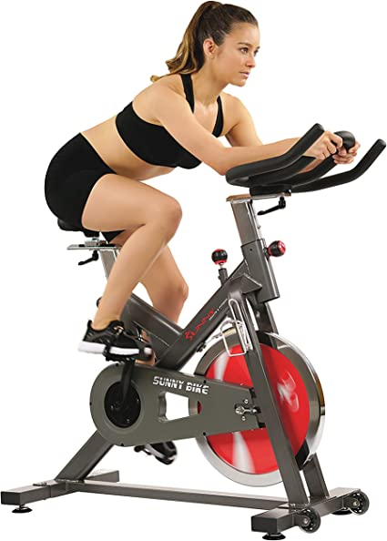 Amazon Com Sunny Health Fitness Belt Drive Indoor Cycling Bike 44 Lb Flywheel Adjustable And Portable Exercise Bicycle Sports Outdoors