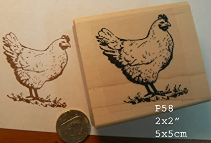 Amazon P58 Chicken Hen Rubber Stamp Arts Crafts Sewing