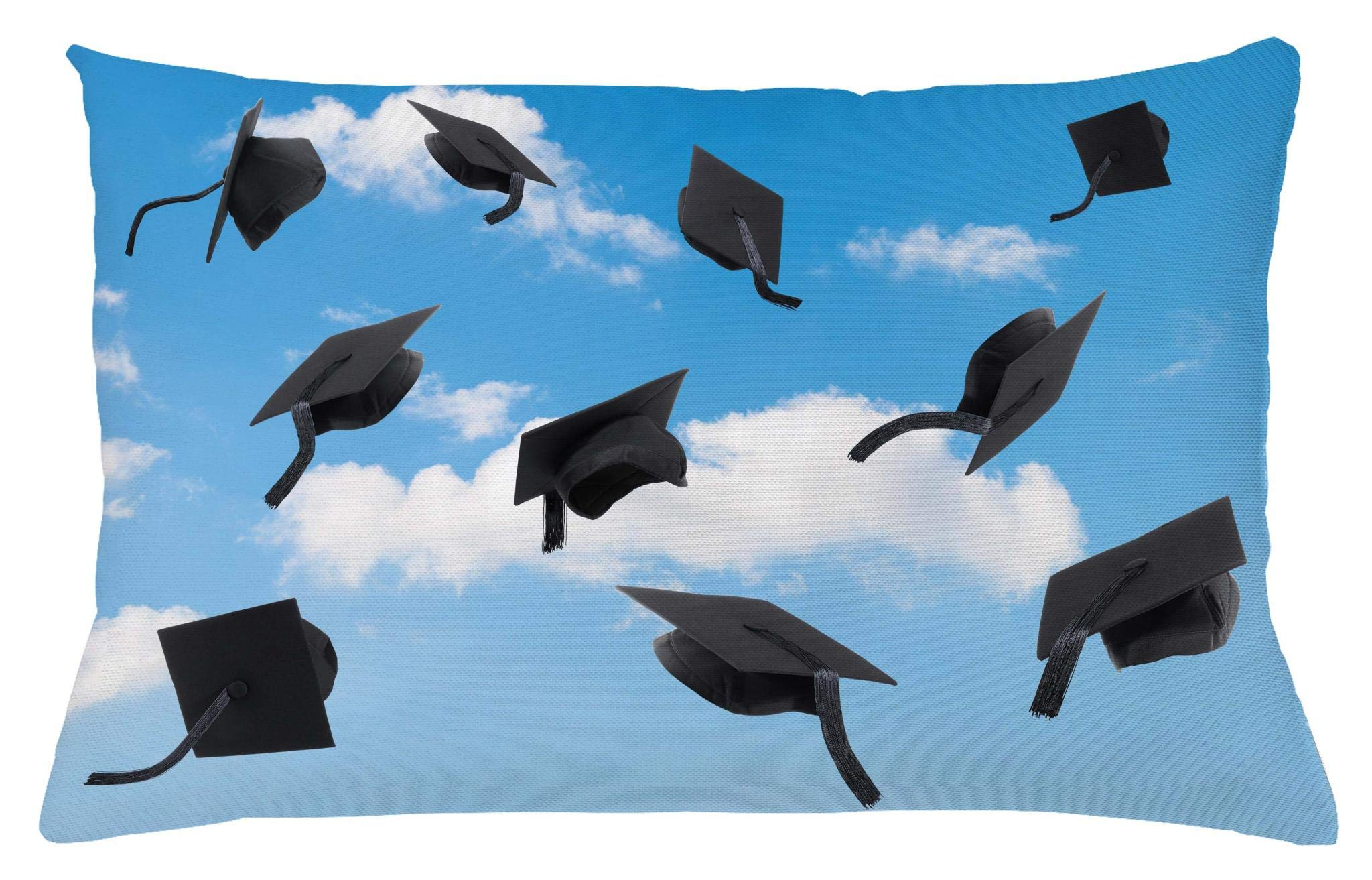 Lunarable Graduation Throw Pillow Cushion Cover, Caps Thrown into Sky Last of The School Highschool College Ceremony Picture, Decorative Accent Pillow Case, 26 W X 16 L Inches, Blue Black