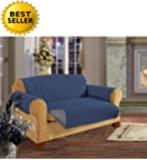 Reversible Furniture Protector! Elegance Linen Luxury Slipcover/Furniture Protector Great for Pets & Children with STRAPS TO PREVENT SLIPPING OFF, Sofa Size, Navy Blue/Gray