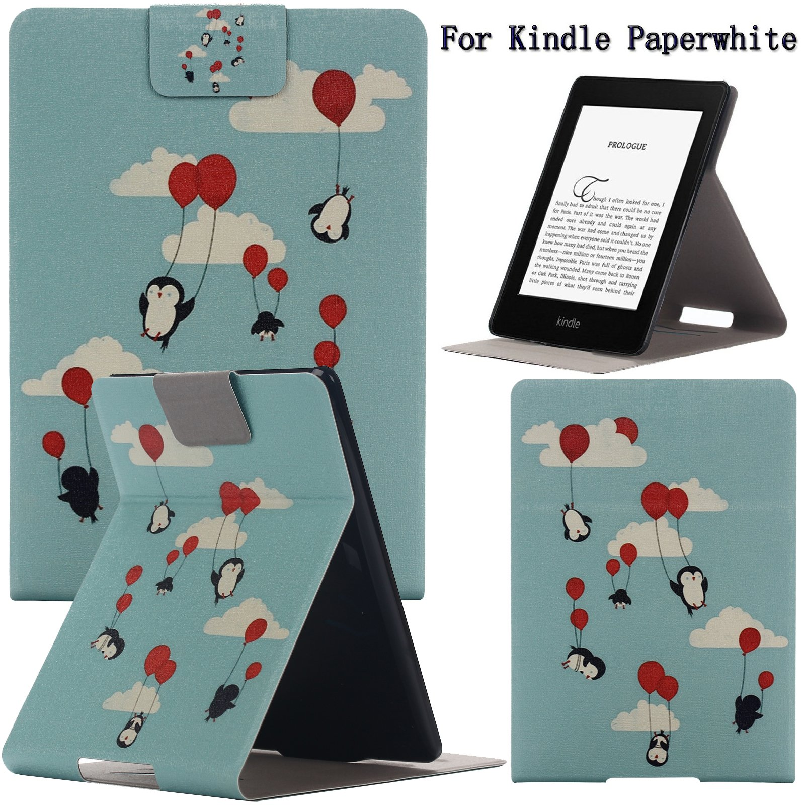 Newshine(TM) Case For Kindle Paperwhite,Ultra Slim PU Leather Smart Case Build in Magnetic with [Auto Sleep/Wake Function] for Amazon Kindle Paperwhite 2015 2013 2012 6'' E-reader (Flying Penguins) by NewShine