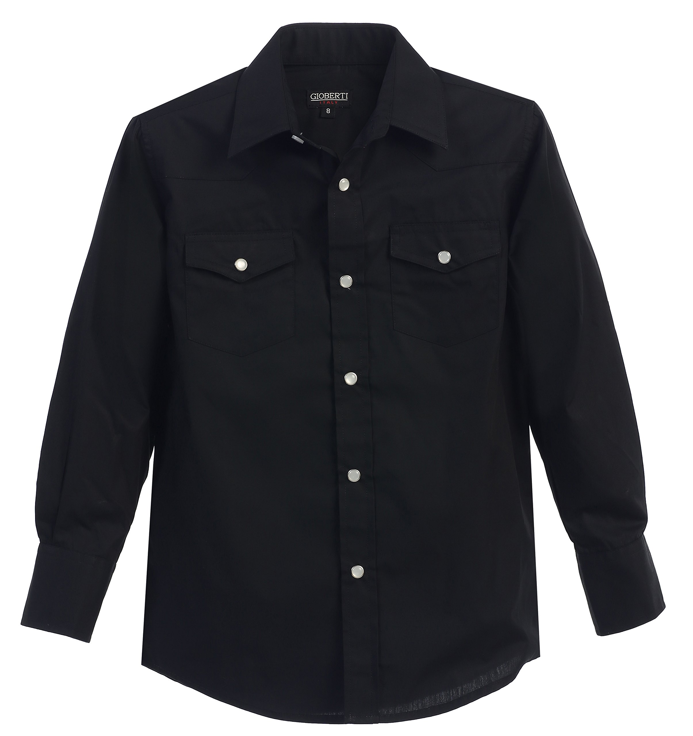 Gioberti Little Boys Casual Western Solid Long Sleeve Shirt with Pearl Snaps, Black, Size 6