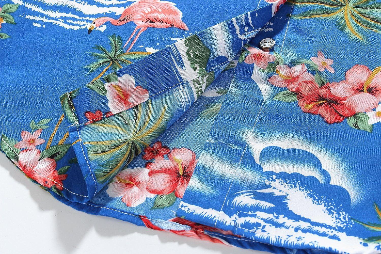 SSLR Camisa de Manga Corta Estilo Hawaiana con Estampado de Flamencos paea Verano Fiesta de Mujer