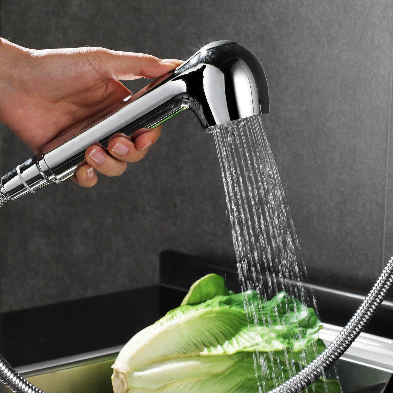 HOMFA Grifo Cocina Extraible 360/° Giratorio Agua Fr/ía y Caliente Grifo de Fregadero de Cocina con Ducha Cromado 47.5 x 33.5 x 5cm