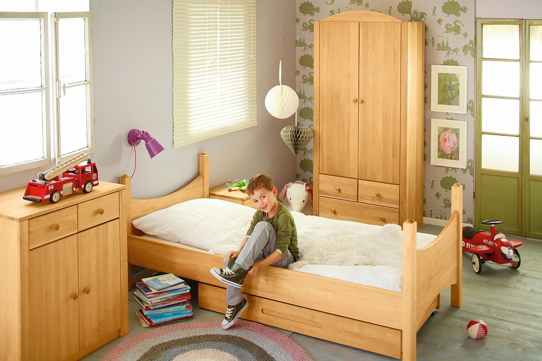 BioKinder 22810 Noah Spar-Set Kinderzimmer komplett: Kinder-Bett, Kommode, Kleider-Schrank aus Massivholz Erle