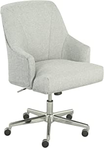 Serta Leighton Home Office Memory Foam, Height-Adjustable Desk Accent Chair with Chrome-Finished Stainless-Steel Base, Twill Fabric, Cozy Ivory