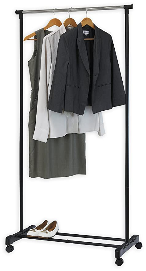 Charmant Simple Houseware Portable Closet Hanging Clothing Garment Rack With Wheels