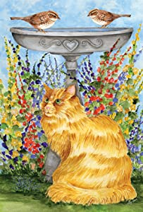 Toland Home Garden Kitty at the Birdbath 12.5 x 18 Inch Decorative Spring Summer Flower Cat Bird Bath Garden Flag