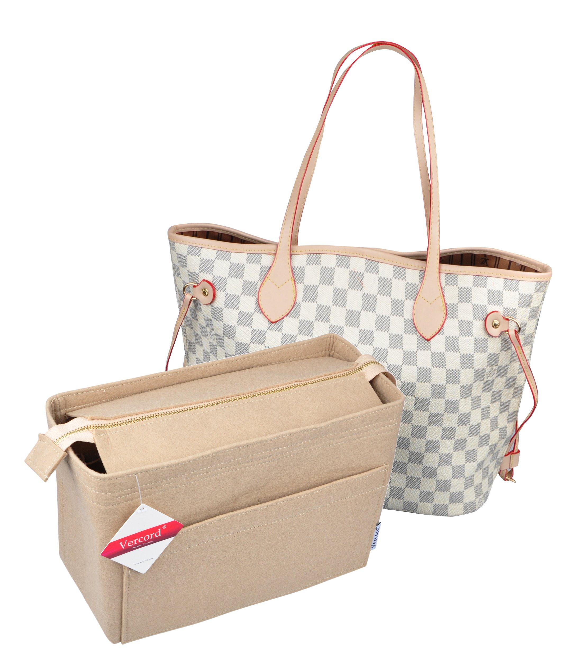 Vercord Large Felt Zipper Handbag Tote Purse Duffel Backpack Organizer Insert 2 Size, Beige L