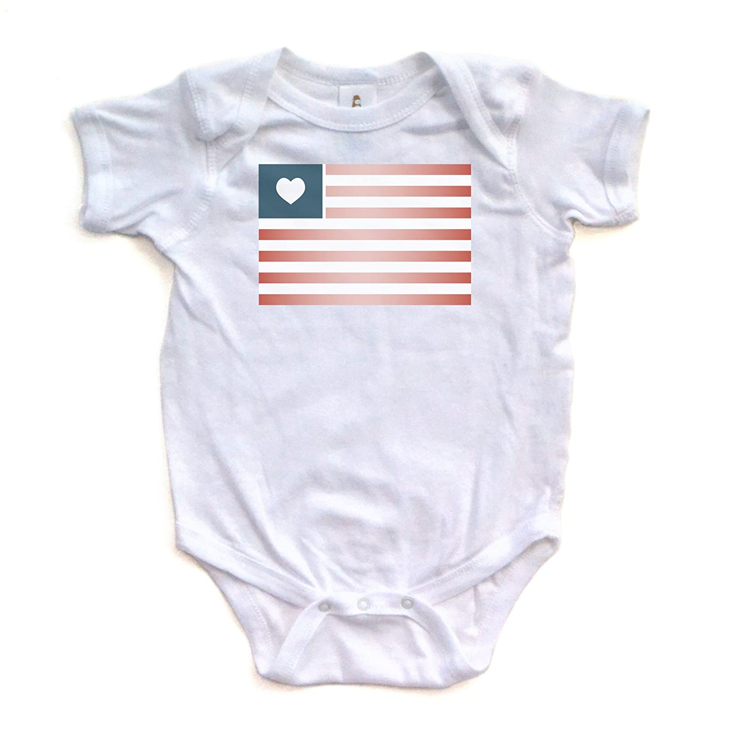 Amazon American Flag on White Baby Bodysuit Clothing