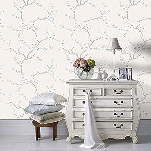 Fresco Great Value Apple Blossom Tree Print Metallic Natural Wallpaper