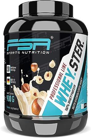 Whey Protein de la marca alemana de deporte profesional FSA Nutrition®, proteína en polvo baja en carbohidratos con BCAA, Fabricado en Alemania, 900 ...