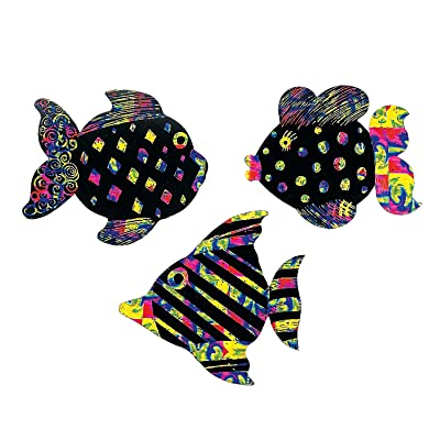 Magic Color Scratch Fish (24Pc) - Crafts for Kids and Fun Home Activities: Toys & Games