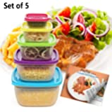 Prefer Green 5-Size Multi-Color Food Storage Container Set with Lids,Meal Prep,Portion Control Kit (Free 10 Healthy Recipes E-book)