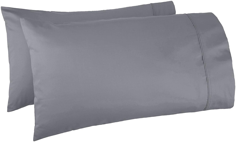 AmazonBasics 400 Thread Count Pillow Cases - King, Set of 2, Dark Grey