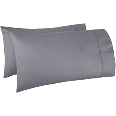 AmazonBasics 400 Thread Count Cotton Pillow Cases, King, Set of 2, Dark Grey