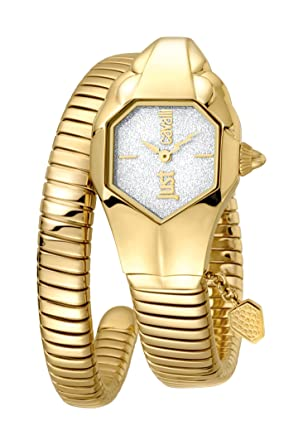 Just Cavalli Womens JC1L001M0135 JC DNA Silver Dial with Gold Stainless- Steel Band Watch.
