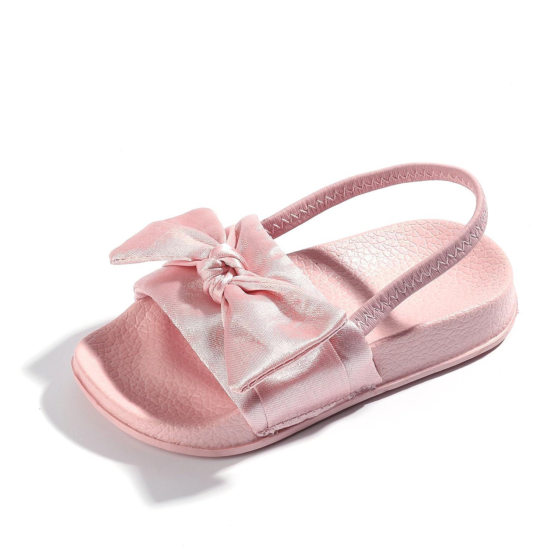 FITORY Toddler Girls Slides, Silky Bow Sandal Slip on Shoes Little Kids