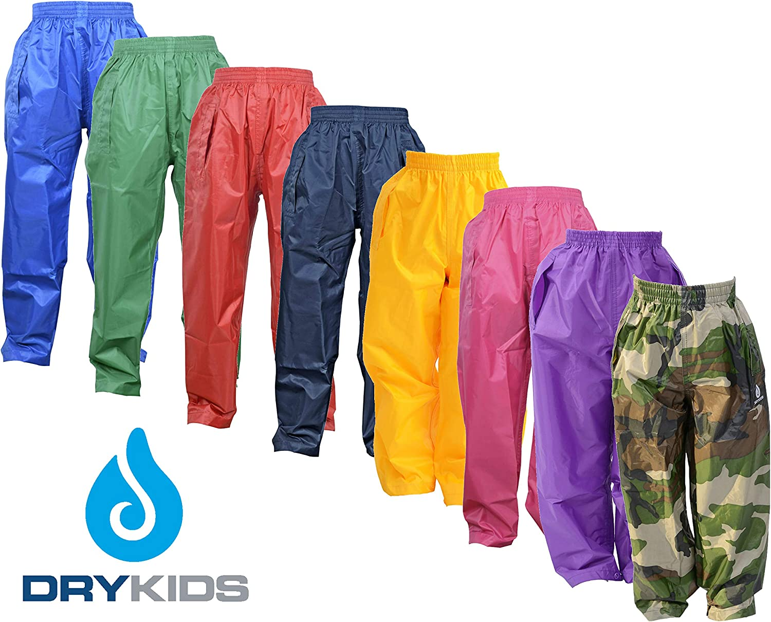 DRY KIDS Childrens Waterproof Over Trousers Boys and Girls Rainwear for Outdoor Play