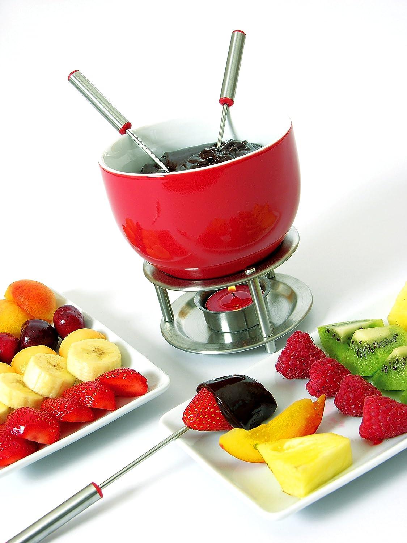 Mastrad Set per fonduta con 4 forchette rosso