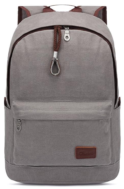 90d600b0c9 Amazon.com  KAUKKO Vintage Canvas Backpack Rucksack Casual BookBags  Rucksack Backpacks Grey  Computers   Accessories