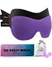 3D Sleep Mask Purple ( New Design by PrettyCare with 2 Pack) Eye Mask for Sleeping - Contoured Eyemask Silk - Blindfold Airplane with Ear Plugs,Travel Pouch - Best Night Blinder Eyeshade for Men Women Kids