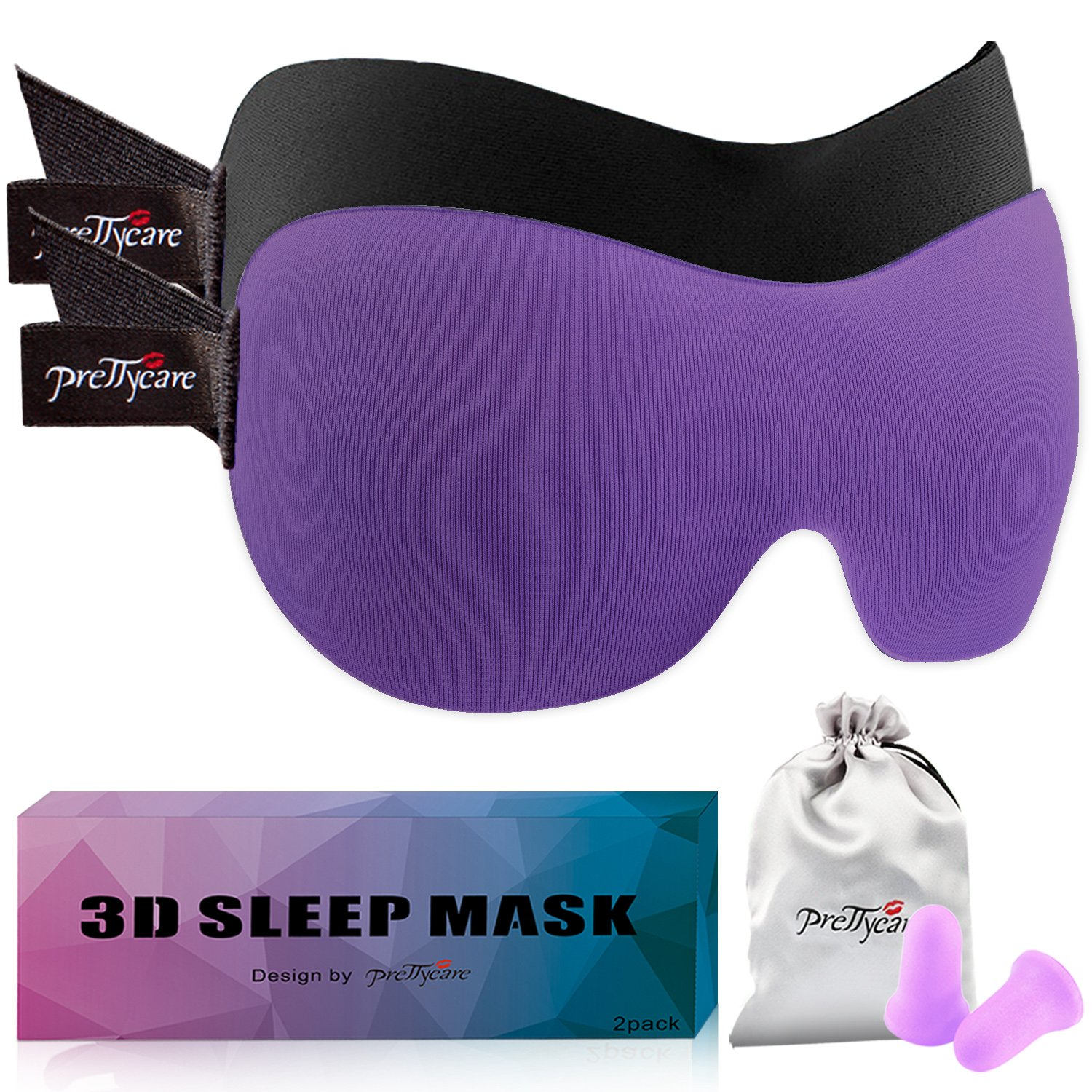 PrettyCare 3D Sleep Mask (Popular Ultra Violet Color with 2 Pack) Eye Mask for Sleeping - Contoured Night Blindfold for Airplane with EarPlugs & Yoga Silk Eye Bags for Travel, Best for Men Women