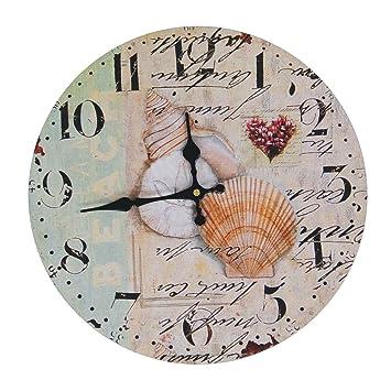 justnile rustic round wall clock 13u0026quot sea shells