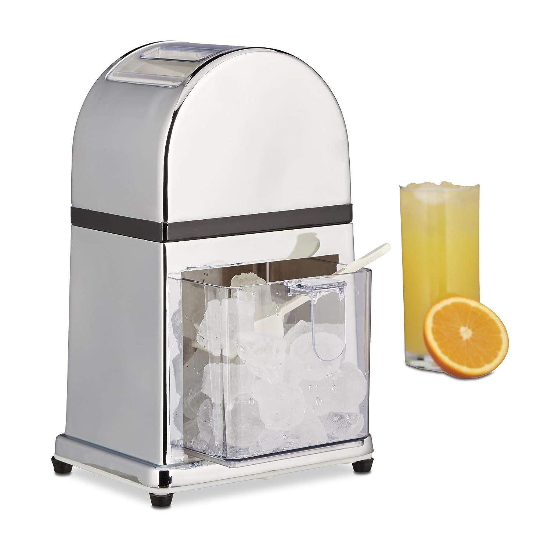 Relaxdays Eiscrusher Maschine mit Eisschaufel, manueller Ice Crusher, Metall Eiszerkleinerer, 27 x 15,5 x 13 cm, silber 10021728
