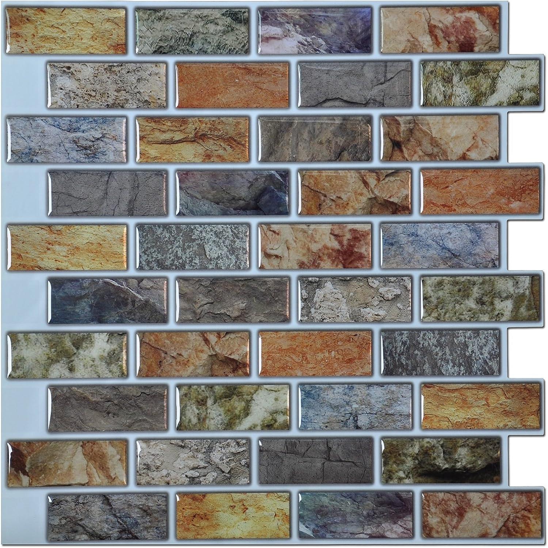 - Art3d Peel And Stick Bathroom/Kitchen Backsplash Tiles, 6 Tiles - -  Amazon.com