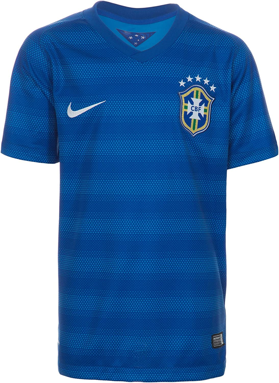 NIKE Youth Brazil Away Home Soccer Stadium Jersey 2014 (Varsity Royal/Football White)