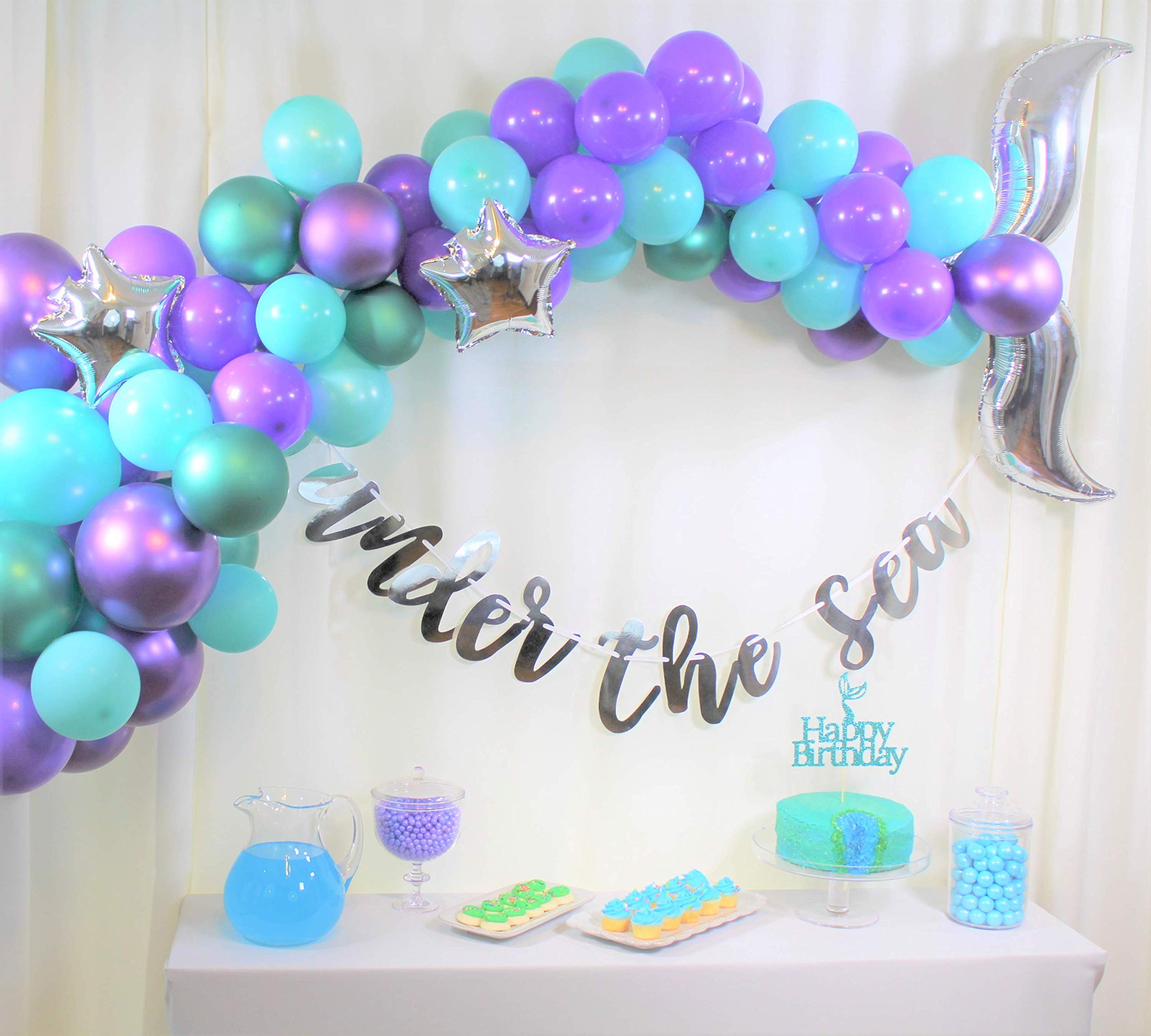 Qutechat Mermaid Tail Balloons Arch Garland Kit - Ocean Themed Party Decorations, Supplies - Teal, Purple Balloon Decor, Cake Topper, Under the Sea Banner, Glue Dots - DIY Decorating Set for Birthdays