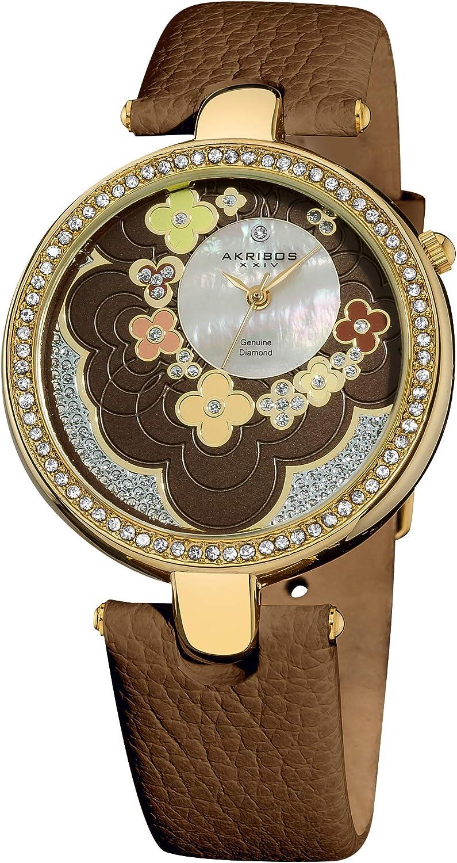 Akribos XXIV Women s Lady Diamond Flower Diamond Dial Watch – Swiss Quartz Movement Genuine Crystal Bezel on Leather Strap – AK601