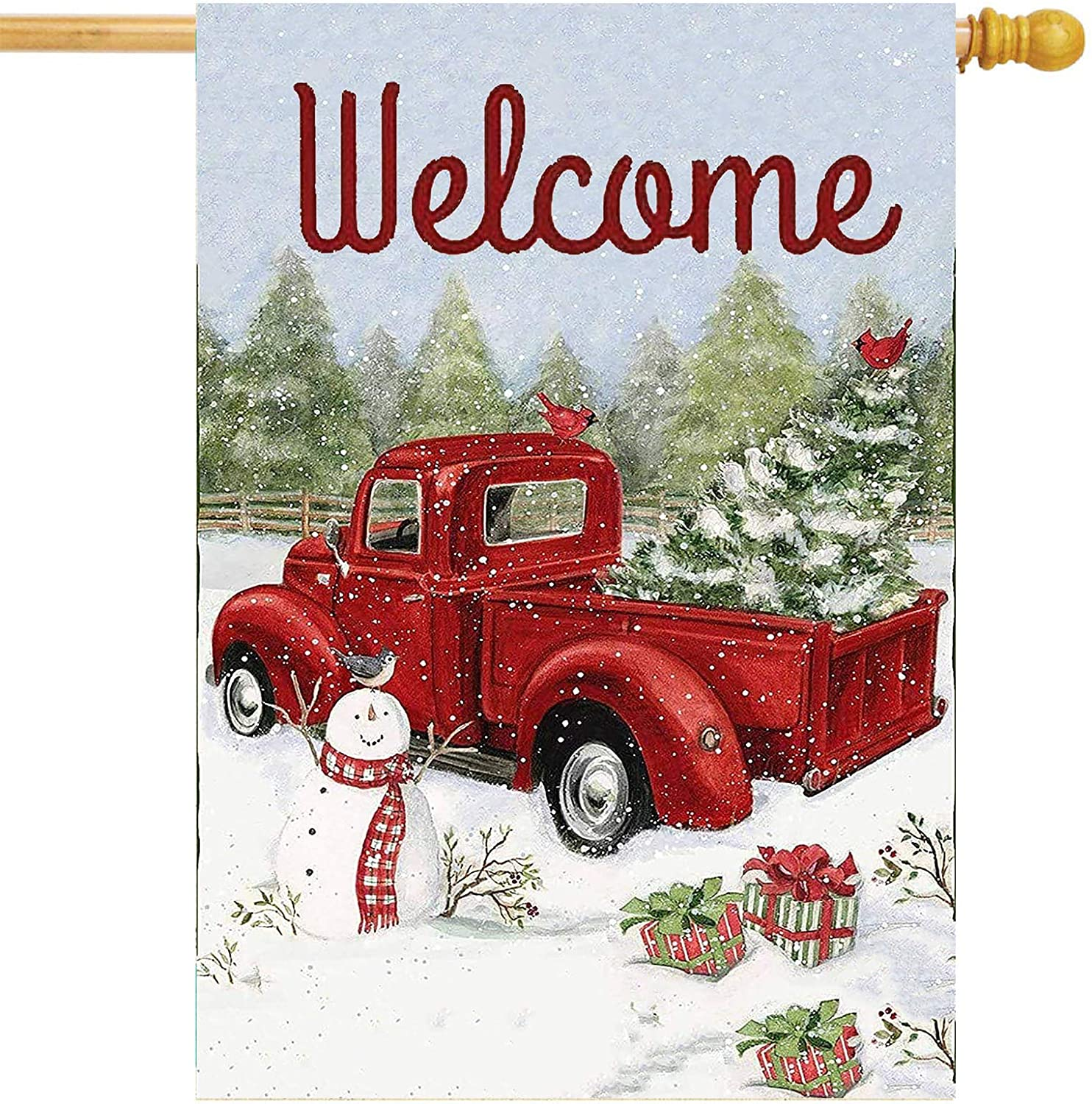 Merry Christmas Red Truck Snowman Garden Flag 28x40 Double Sided Christmas Tree Snow House Yard Flags Welcome Winter Outdoor Indoor Banner for Party Home Xmas Decorations