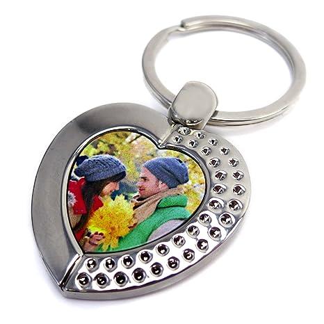 Llavero para Parejas Personalizado con Foto/Imagen/Texto/Nombre 1 Cara | Llavero Personalizado Enamorados | Varios Modelos Disponibles | Corazón ...