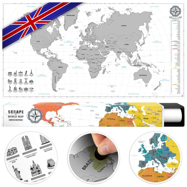 #benehacks Carte du Monde à gratter en Anglais - Carte à gratter Gratuite - Argent/Blanc 84 x 44 cm y Compris l'emballage Cadeau