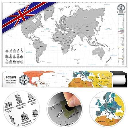 Poster Cartina Geografica Mondo.Benehacks Planisfero Mondo Da Grattare Poster Mappa Del Mondo In