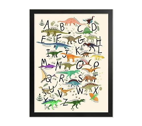 Amazon.com: Framed Dinosaur Alphabet Poster Chart Abc Dinosaur Print A To Z  Wall Kids Room Decor Playroom Art Nursery Picture Painting Dinosaur Lovers:  Handmade