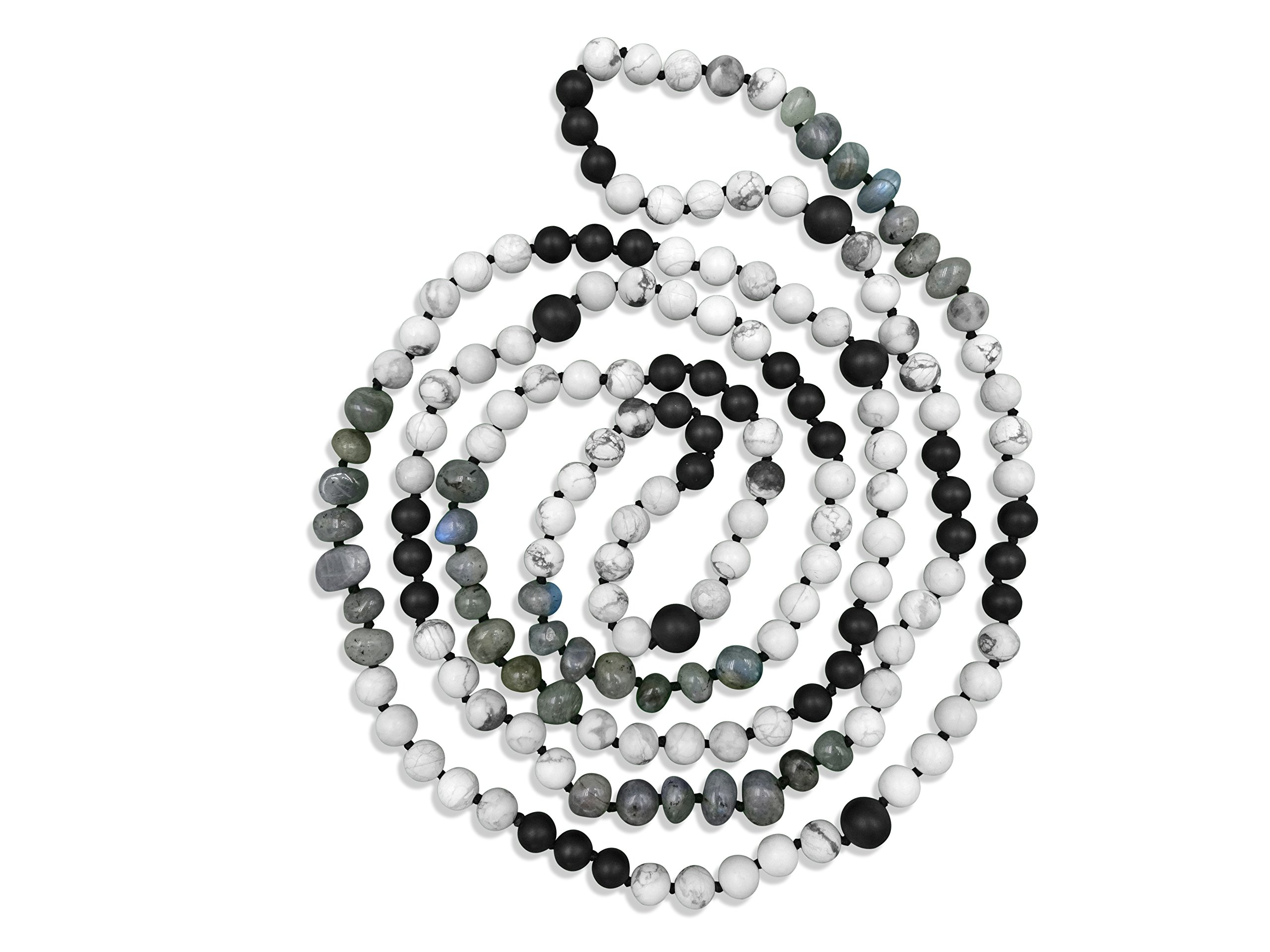 MGR 60 Inch 8MM Semi-precious Genuine Stone Black and White Long Endless Infinity Beaded Hand Knotted Strand Necklace.