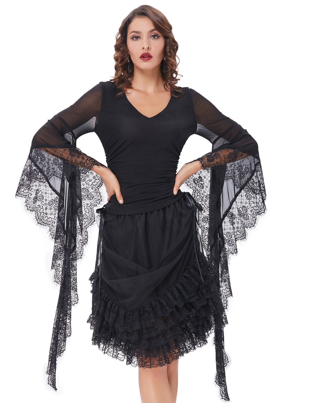 9eaac671beeec Belle Poque Women Steampunk Long Sleeve T Shirts Tops Lace Gothic Tee  Shirts BP000349-1 Black M - 43227-100312   Knits   Tees   Clothing