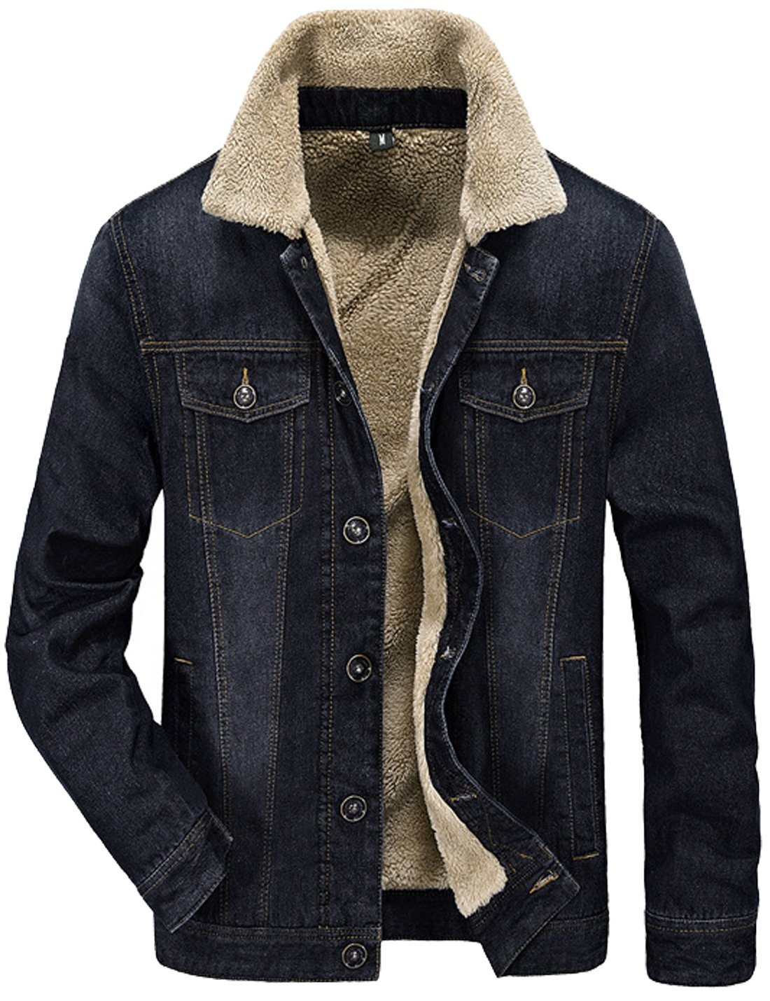 Tanming Men's Winter Casual Lined With Cashmere Warm Denim Jacket (X-Small, Black) by Tanming