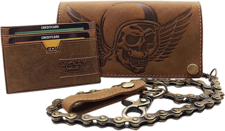 Cuero de b/úfalo motero cartera con cadena met/álica con calavera-motivo y desmontable tarjetero con bloqueo RFID y NFC en marr/ón