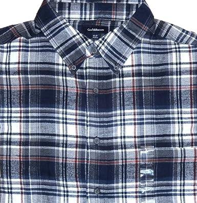 7a6d57b0f Croft & Barrow Mens Classic Fit Flannel Shirt Admiral Navy Plaid w red  Stripe XLT (