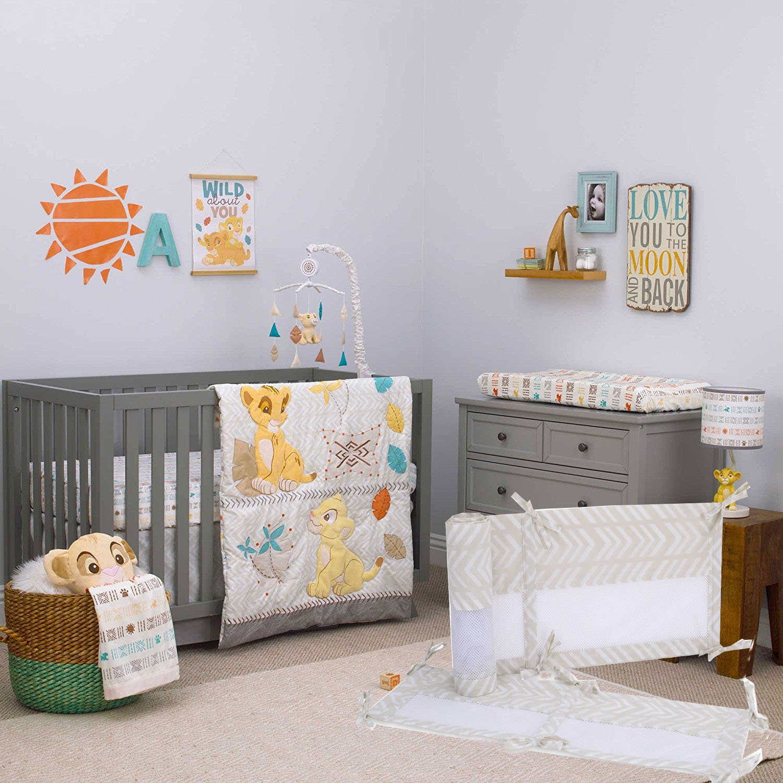 Disney Baby Crib Bedding - Lion King Circle of Life - 6 Piece Bundle W Mobile Mesh Liner & Plush