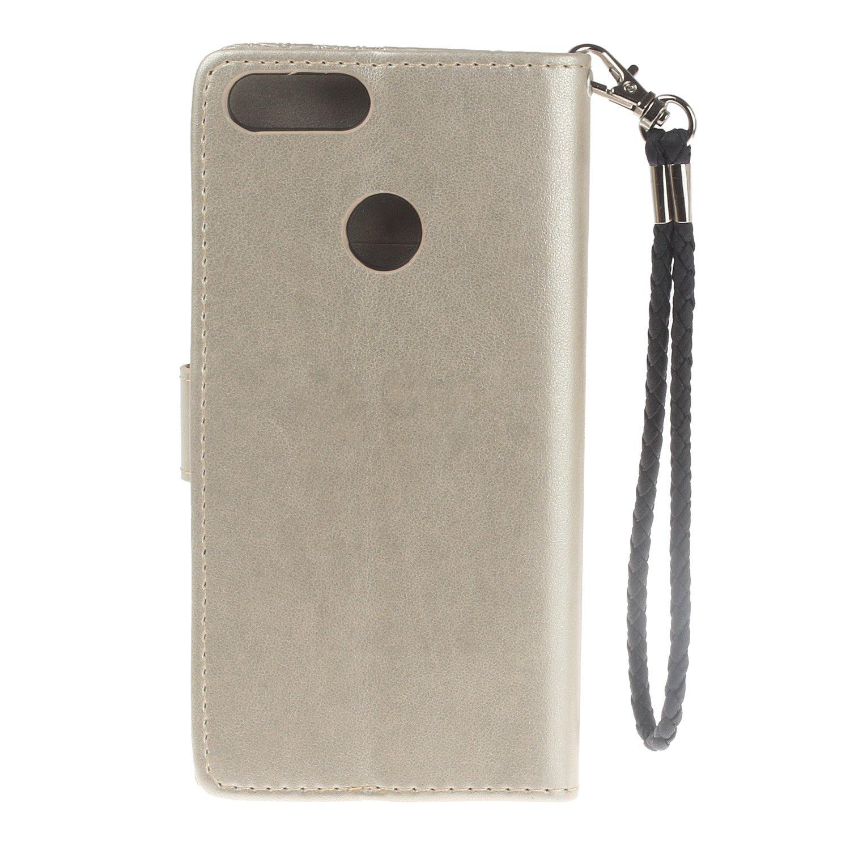 Ukayfe Cover Huawei P Smart,Custodia Huawei Enjoy 7S Portafoglio Luxury Protettiva Flip Portafoglio Cover in PU Pelle con Strass di Cristallo Scintillante per Huawei P Smart//Enjoy 7S.Oro Rosa
