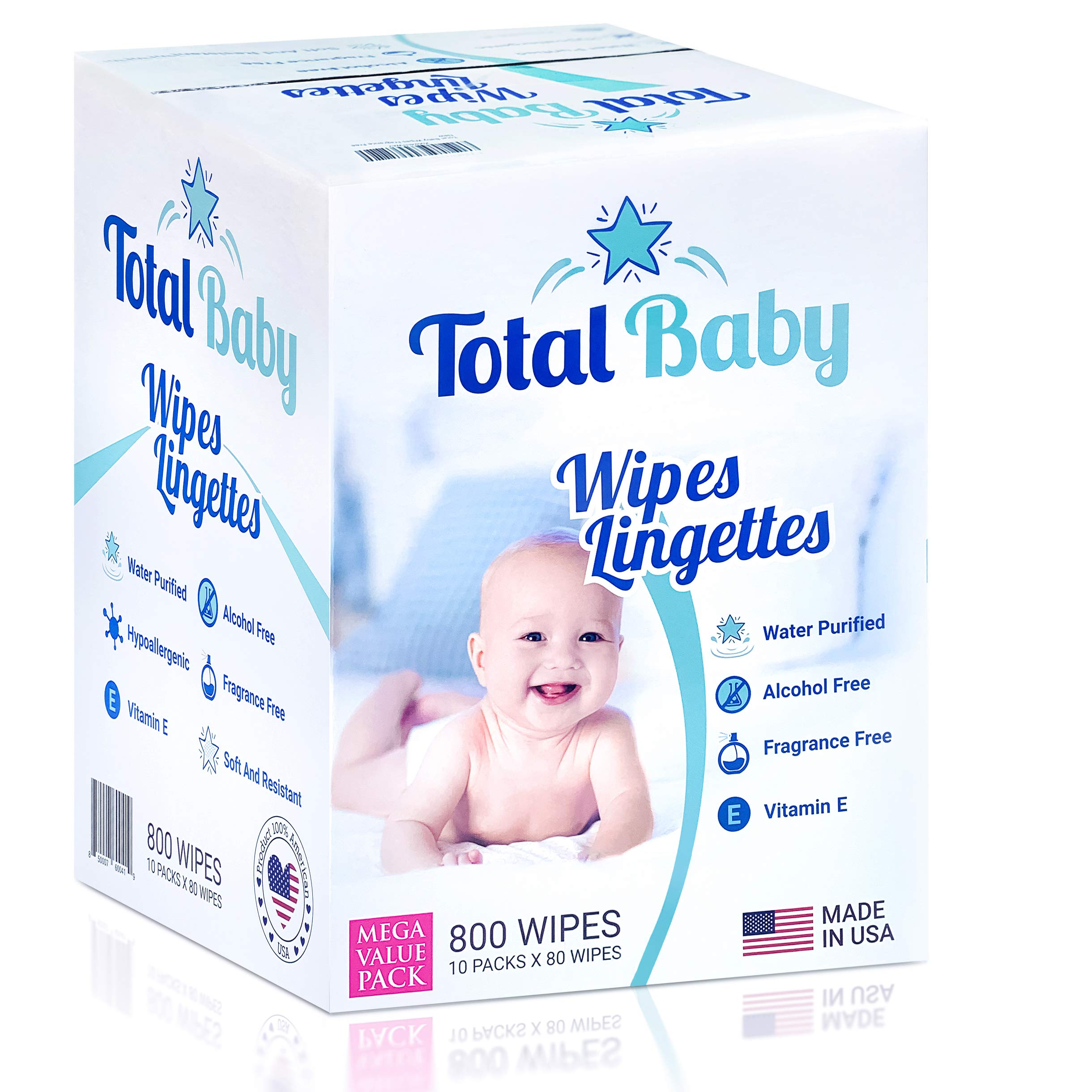 Mark total wipes Baby Natural Sensitive Baby Wipes 800 Count (10 Pack of 80 Count) Made with Pure Water, Alcohol-Free…