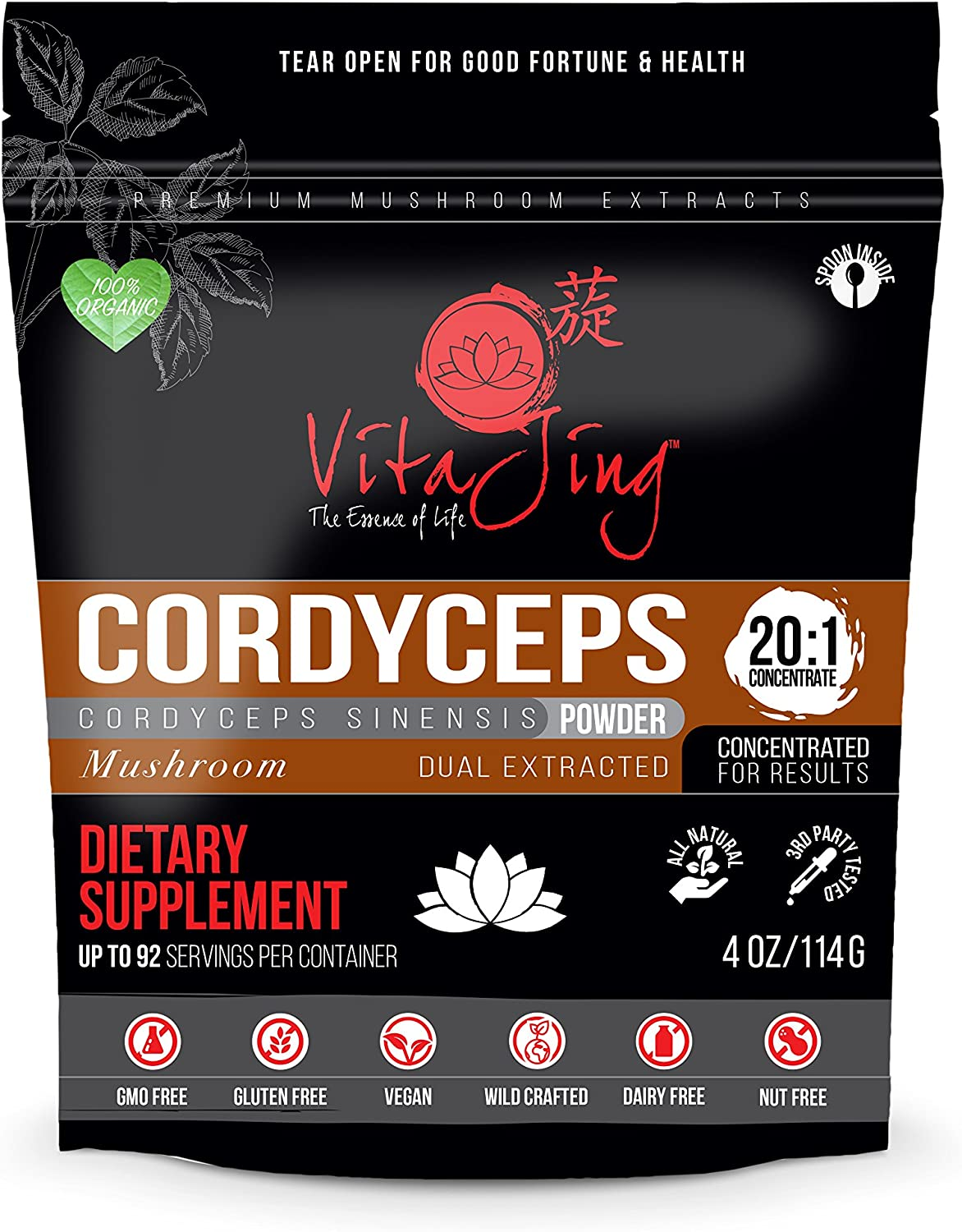 Cordyceps Sinensis Mushroom Extract Powder 20 1 Concentration 4oz-114gm