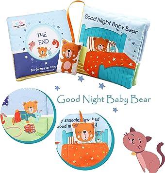 Bear Apple Soft Book Stoffbuch Soft f/ür Kleinkinder Stoffentwicklungsb/ücher yellow bottom