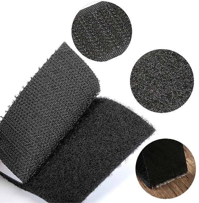 MARCHONE Klettband Klettverschluss Selbstklebend Schwarz mit 1 Meter L/änge und 110mm Breite
