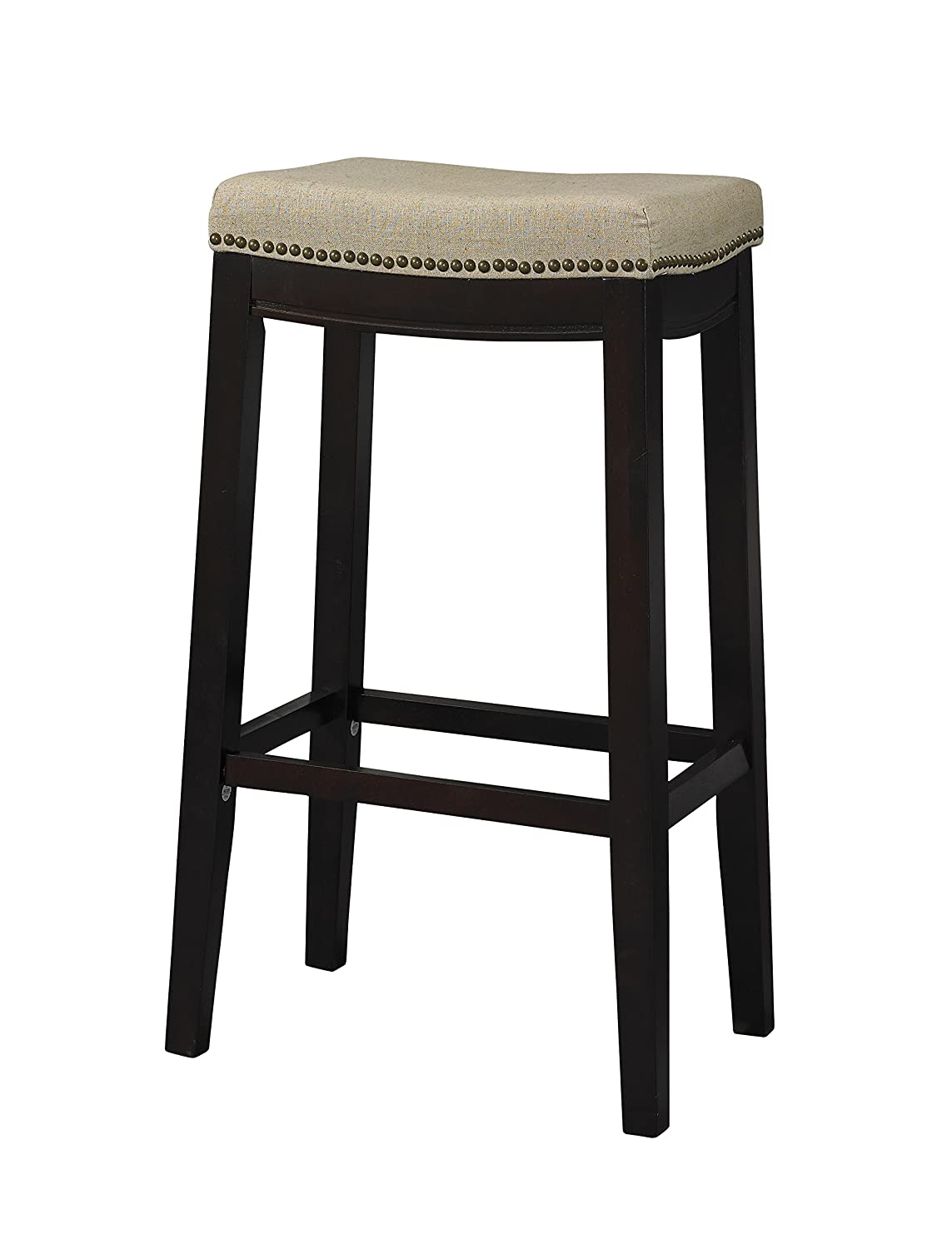 Linon 98326WAL-01-KD Allure Stool Fabric Top Stool, 30-Inch Linon Home
